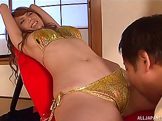 Oriental Girl In A Shiny Gold Bikini Eaten Out And Screwed