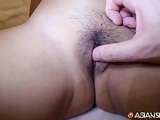 Tiny asian fucks big white cock