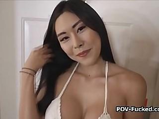 Big tit Asian amateur shows up for blowjob casting