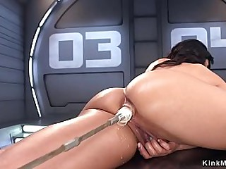 Big tits brunette Asian solo babe shovs fucking machine in wet pussy
