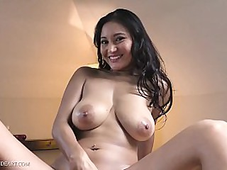 Busty Asian brunette plays with big dildo for great orgasm