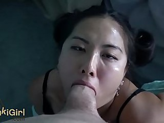 japanese amateur takes deepthroat laying on her back