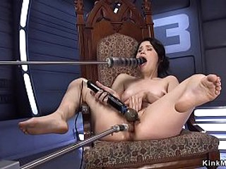 Solo brunette Asian babe gets two fucking machines till gets orgasm
