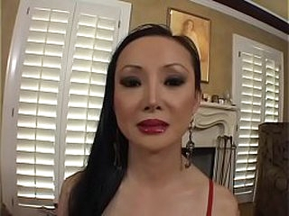 Asian MILF Ange Venus sucks and fucks a stud on the sofa