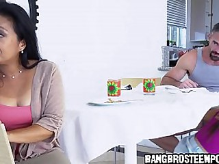 Horny stepdad having fun with his horny asian step daughter