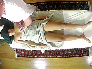 Agreeable oriental honey angelina chung is surprised with a cock massage
