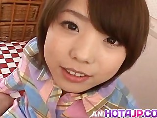 Morimoto Miku gets cock in mouth and in hairy fingered snatch