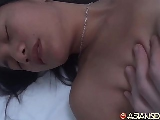Amateur Asian gets cum on her hairy pussy