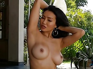 Asian model with big tits strips naked and showers