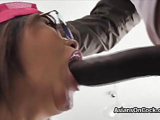 Teen Asian cutie seduces big black cock